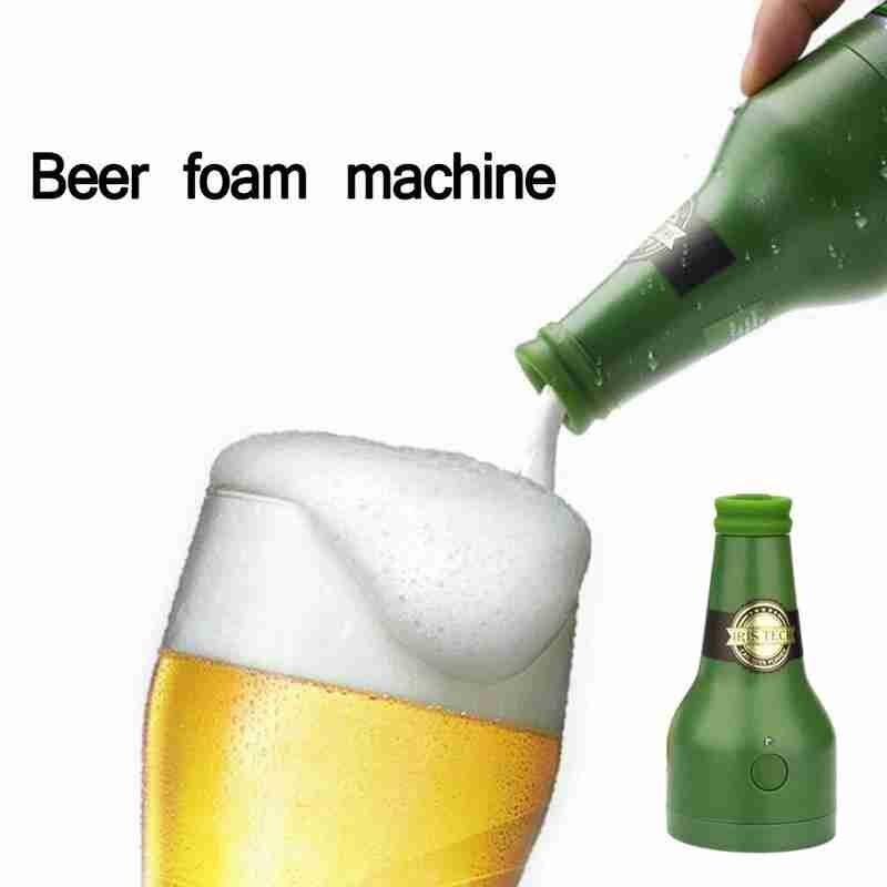 Ultrasonic beer foam machine foam maker portable outdoor household party beer foamer for canned bottled beer (green)