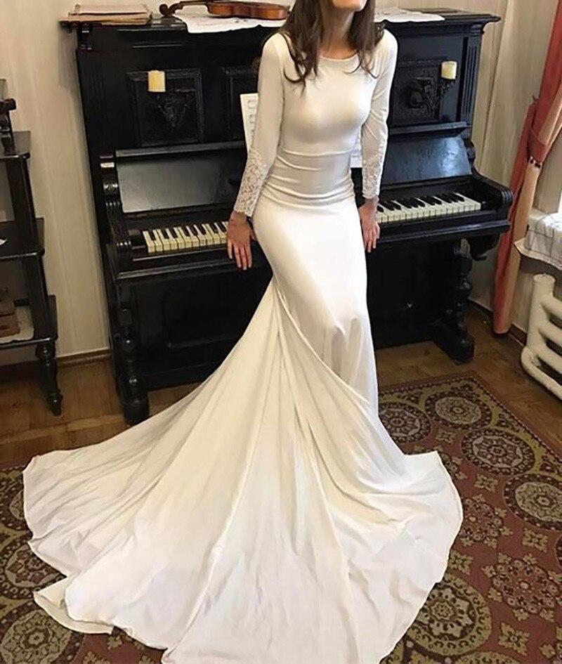 Sexy Mermaid Wedding Dress Long Sleeve Dubai Wedding Bride Dress Soft Satin Wedding Gowns Vestido De Voiva 2020