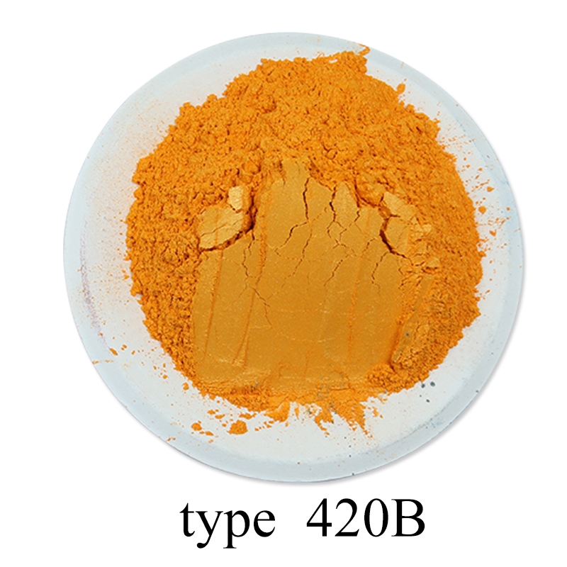50g #420B Apricot Yellow Pearl Powder Pigment Mineral Mica Powder Dye Colorant Soap Painting Automotive Art Crafts Acrylic Paint