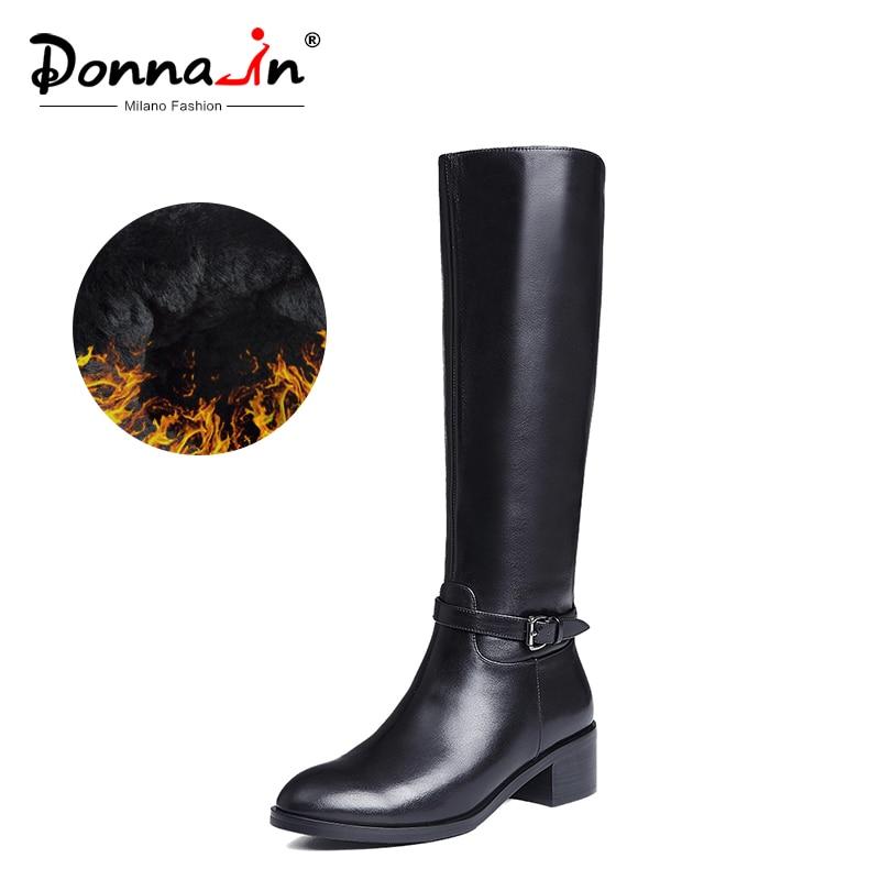 Donna-in botas de invierno botas altas hasta la rodilla botas cálidas de piel nueva moda zapatos de mujer de cuero Real punta redonda talón negro señoras 2019