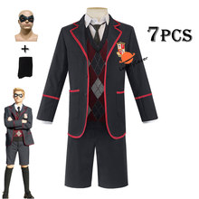 7Pcs De Paraplu Academy Hargreeves Cosplay Kostuum School Uniform Volledige Set Halloween Carnaval Outfits Party Kostuums Mannen Jongens(China)