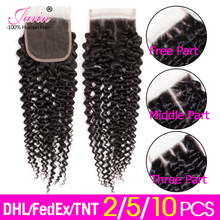 Jarin Hair 2 5 10 Pieces/lot 4x4 Closure Kinky Curly Human Hair Brazilian Lace Closure Free Middle Three Part Jarin Hair Remy