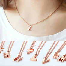Personalized Stainless Steel A-Z Initial Letter Alphabet Necklace Alloy Alison Font Pendant Custom Name Personalized Necklace(China)