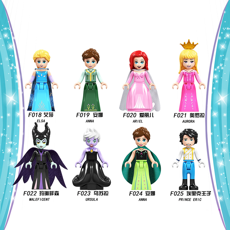 Building Blocks Princess Figures Compatible Legoinglys Friends Anna Elsa Bricks Toys Model Brick Model Toys For Children Gift