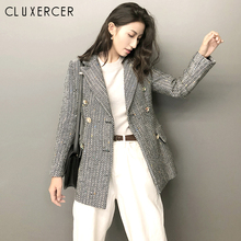 Classic Stripe Chic Autumn Blazer Jacket Women Streetwear Tweed Long Sleeves Win