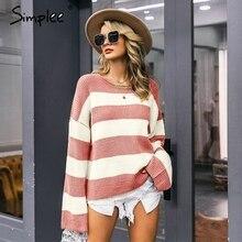 Simplee listrado camisola de malha feminina o pescoço pulôver grosso fêmea jumper solto streetwear macio casual lã camisola inverno
