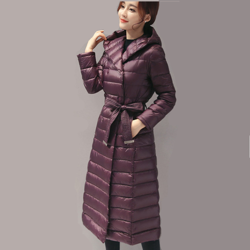 Winter Warm Women Coat Female White Duck Down Jacket Fur Collar Hooded Parkas Slim Thin Women's Jackets Inverno WXF291 's S