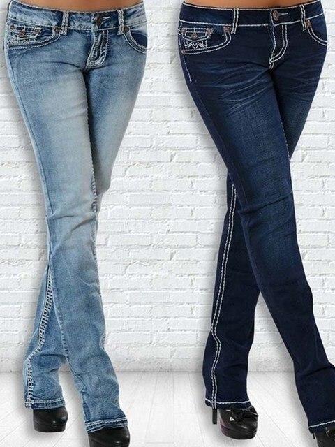 Pantalones de tubo de cintura alta para mujer, vaqueros con bordado de hilo grueso, moda Sim, pantalón largo Sexy, cintura elástica, 2020 5