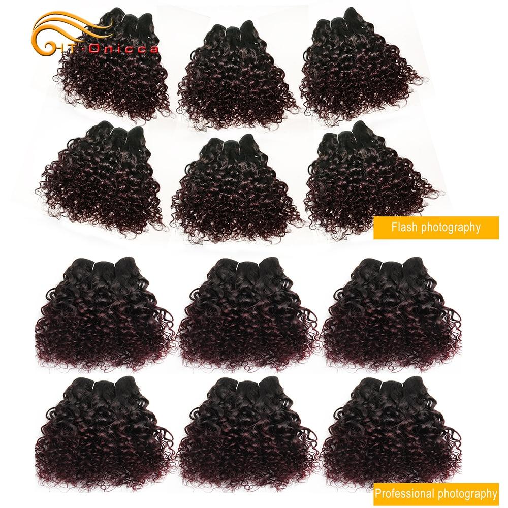 Brazilian Bohemian Curly 100% Remy Human Hair Double Drawn Funmi Hair 8 Inches 6Pcs/lot Can Make A Wig For Women Htonicca
