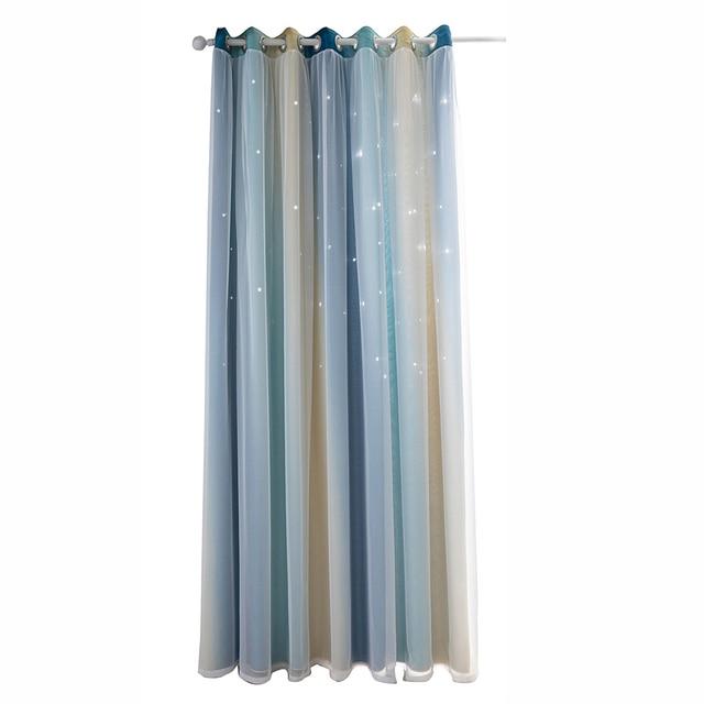 1 panel dormitorio cortinas opacas Nyescasa Cortinas de doble capa con estrellas para ni/ños para habitaci/ón de los ni/ños doble hueco azul 53 x 63 pulgadas ni/ñas coloridas
