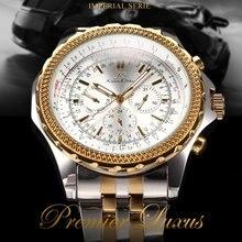 KS Royal Carving Luxury Male Clock Men Full Steel Watch Day