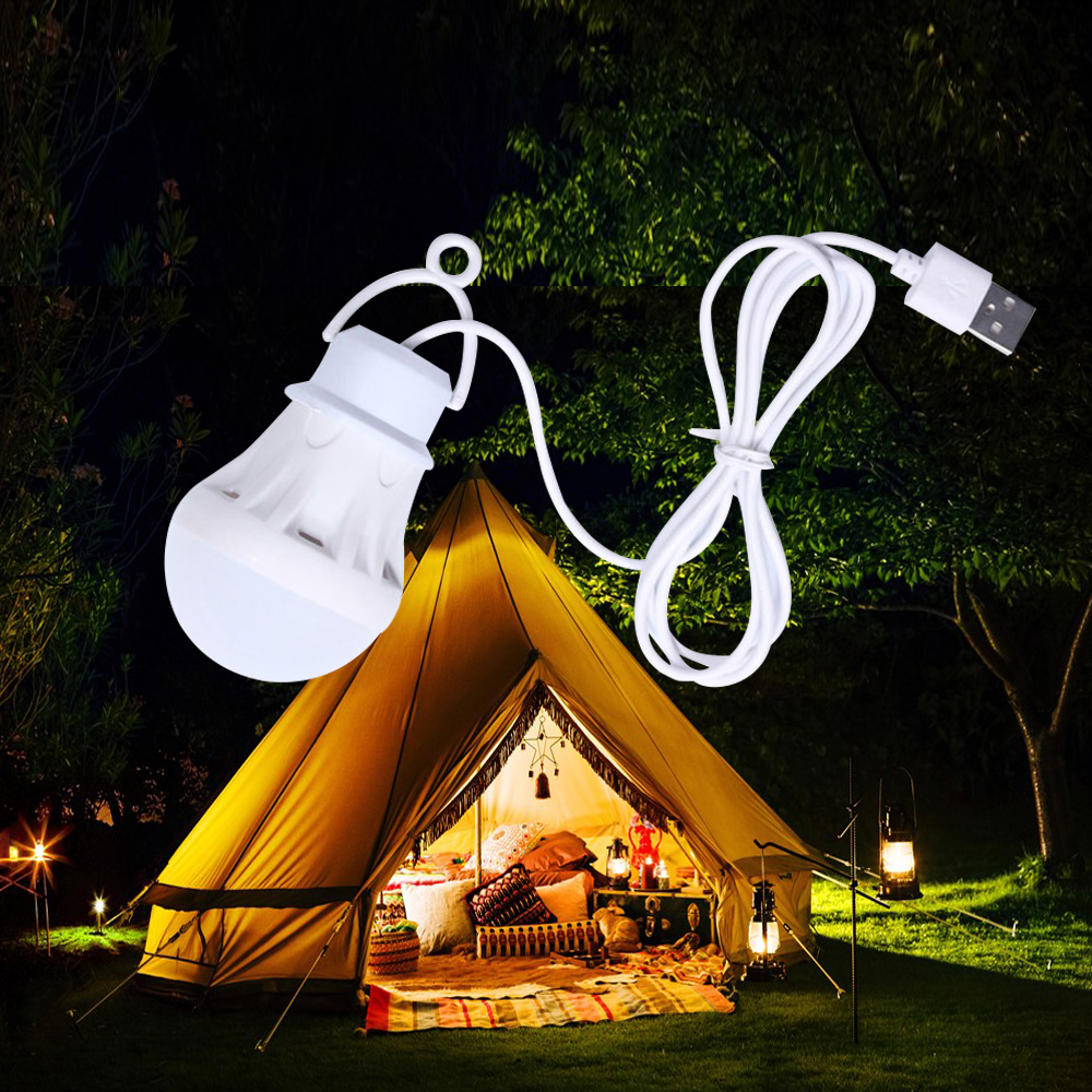 1 Pcs 5V LED 5W USB Bulb Light Portable Camping Light Hanging Lantern Lamp  For Hiking Tent Travel Work With Power Bank Notebook