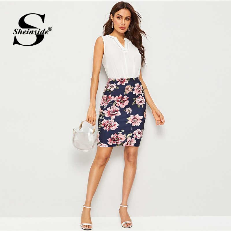 Sheinside Elegant Floral Print Pencil Skirt Women 2019 Summer High Waist Bodycon Skirts Office Ladies Navy Mini Skirt