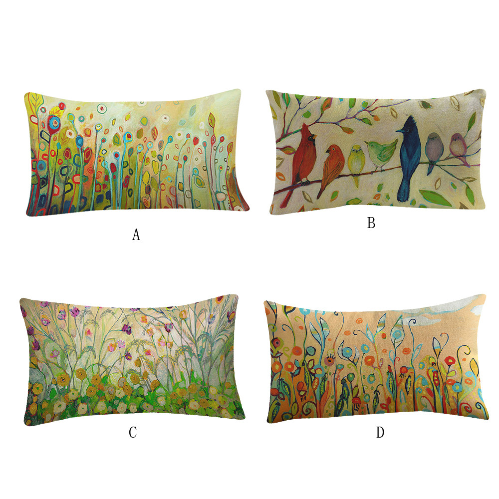 30x50 Cm Country Style Flower Bird Pattern Waist Pillowcase Printing  Bed Home Festival Pillow Cover  #45