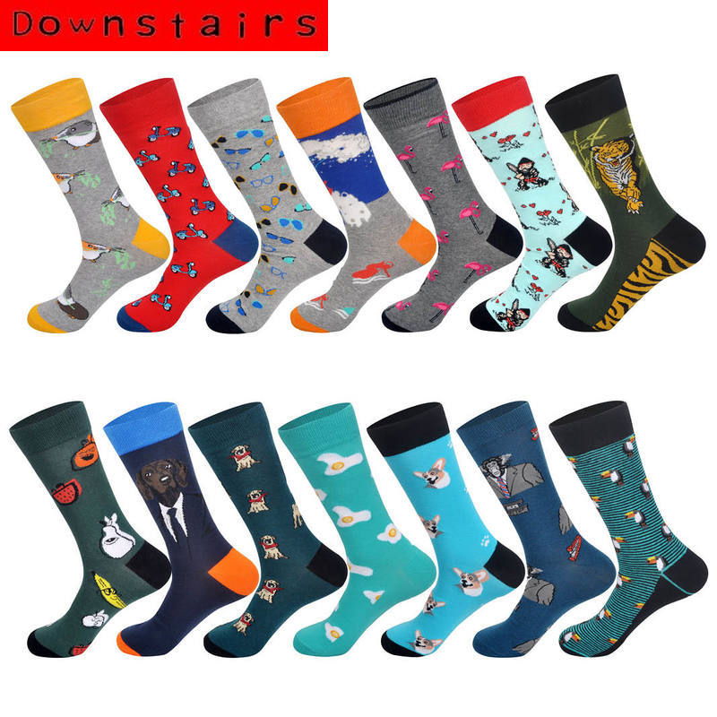Downstairs Newly Men Cotton Socks Toucan Dog In A Suit Ape Tiger Flamingo Bicycle Glasses Banana Poached Egg Pattern Men Socks