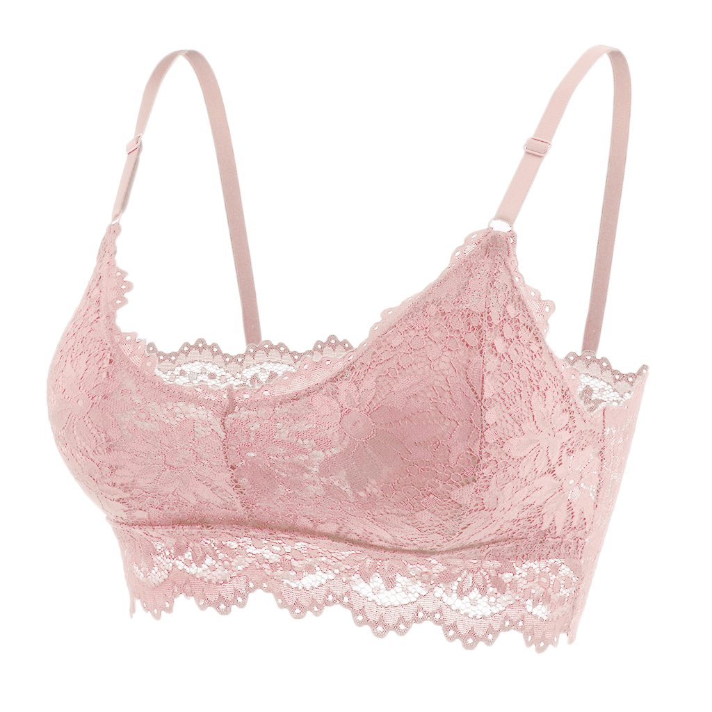Floral Lace Bralette Chiffon Tops with Pad Sheer Bra Bustier Crop Wireless Lingerie