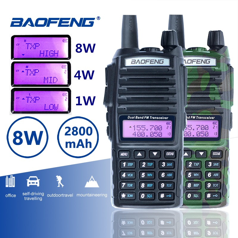 Baofeng UV-82 Walkie Talkie 8W Dual PTT Two Way Radio Dual Band Portable UV 82 Transceiver UV82 Woki Toki CB Radio Station 50km
