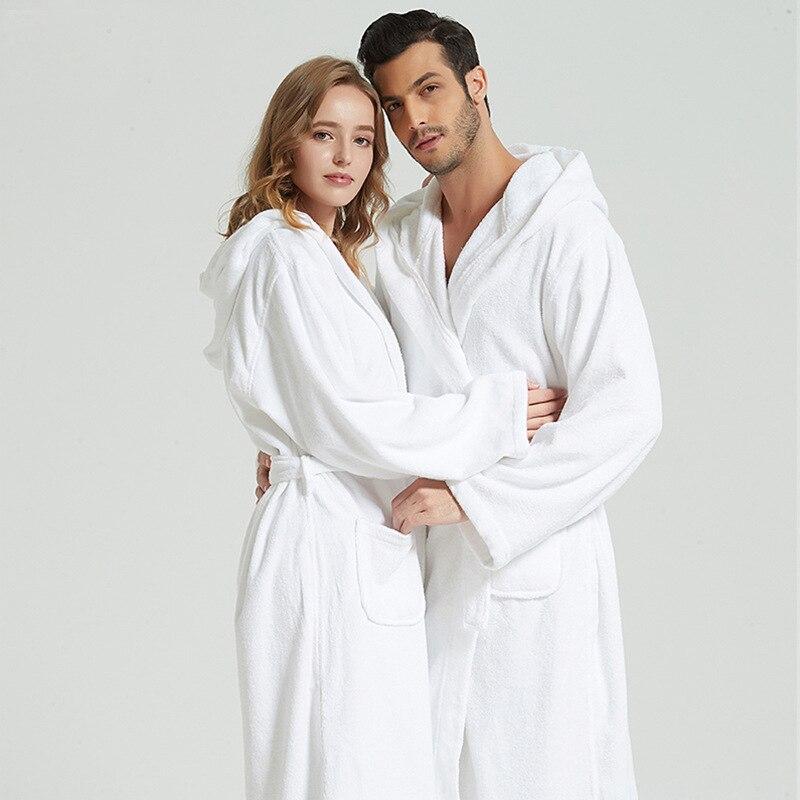 100% coton épais robe d'hiver pour couple à capuche peignoir de bain 1350