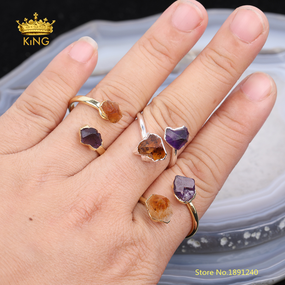 5pcs Faceted Quartz <font><b>Rings</b></font> Jewelry,Bulk Natural Quartz <font><b>Raw</b></font> <font><b>Crystals</b></font> Beads Double Circle Copper <font><b>Ring</b></font> for Women Birthday Gifts image