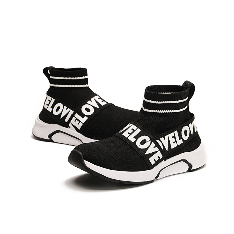 Children Sock Shoes Kids High Top Knitting Stretch Big Boys Mesh Sports Shoes 2020 Spring/fall Breathable Sneakers Leisure Shoes