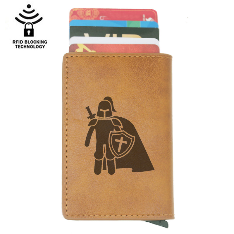 Vintage Classic Knight Templar Rfid Card Holder Men Wallets Brown Short Purse Leather Slim Wallets Mini Wallets