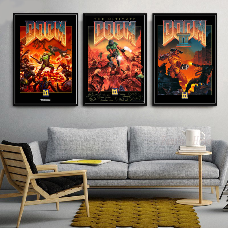 Poster Prints Classic Halo Video Games The Ultimate Doom Game Wall Art Canvas Painting Wall Pictures For Living Room Home Decor image