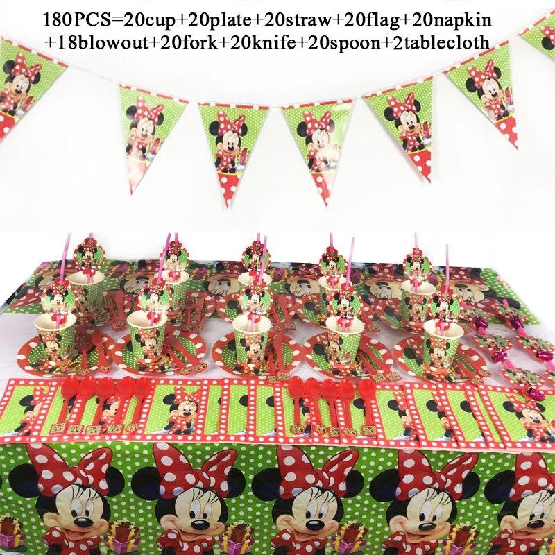 Fontes de Festa de Aniversário Minnie Tema Copo Placas Bandeiras Vermelho Mouse Toalha 1 Conjunto Bebê Menina Decoração