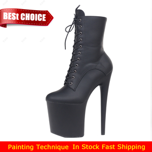 Image 5 - JIALUOWEI INS Style 20CM Extreme High Heels Platform Boots Lace Up Sexy Pole Dancing Ankle Boots Side Zip  5 12