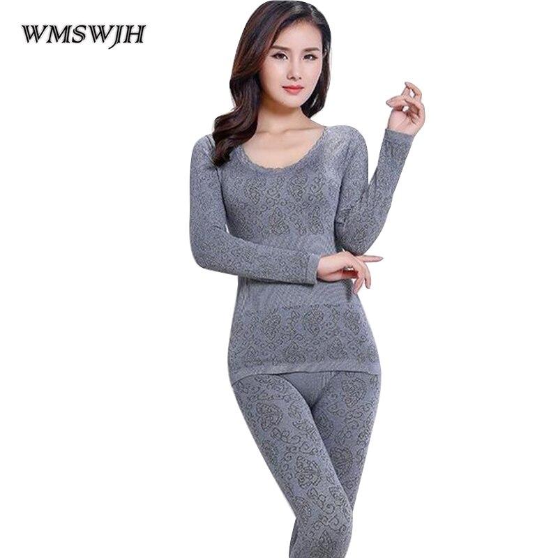 Sexy Thermal Underwear Sets Women Long Johns Suit Winter Warm Underwear Suit Ladies Bodysuit Slim Intimate Sets Female Pajamas