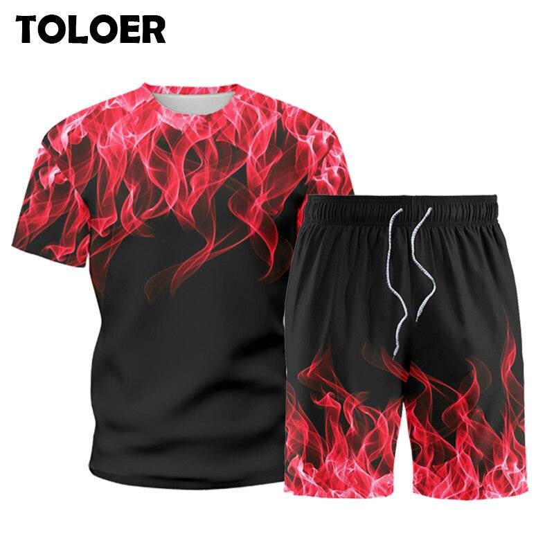 Męskie Patchwork zestawy lato Multicolor dresy sportowe 2 sztuk Tshirt + spodenki męskie Harajuku bluzy w stylu Casual dres odzież sportowa