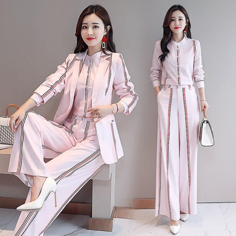 2020 Fashion Woman Elegant Striped Business Suit Office Wear Skirt Pant Suits for Women Blazer Shirt Pants Set Three Piece Suite