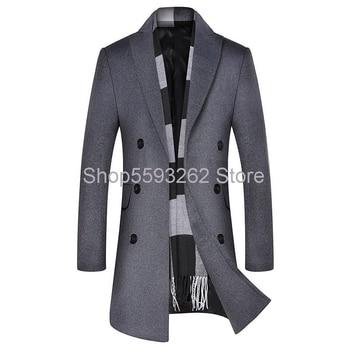 2020 wool coat men's youth coat long double-breasted coat men