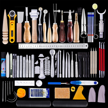 MIUSIE 92 قطعة الجلود المهنية الحرفية أدوات عدة اليد القاطع نحت خياطة لكمة نحت العمل الجلود أداة مجموعة اكسسوارات