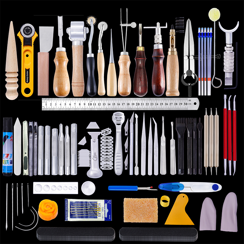 MIUSIE 92pcs Professional Leather Craft Tools Kit Hand Sewing Stitching Punch Carving Work Leather Craft Tool Sets Accessories