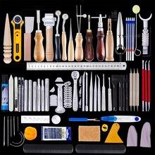 MIUSIE Kit profesional de herramientas para manualidades de cuero, cortador de mano, materiales para tallado y costura, 92 Uds.