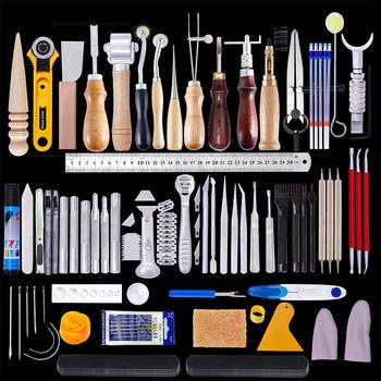 Zestaw skórzany MIUSIE skórzane narzędzia rzemieślnicze zestaw ręczny rzeźba dziurkacz rzeźba szydło skórzane igły nici dla początkujących tanie i dobre opinie CN (pochodzenie) steel+wood MU1458-MU1486 2142g Lather accessories Leather craft tools Leather tools 59 leather kit Leather craft tools set
