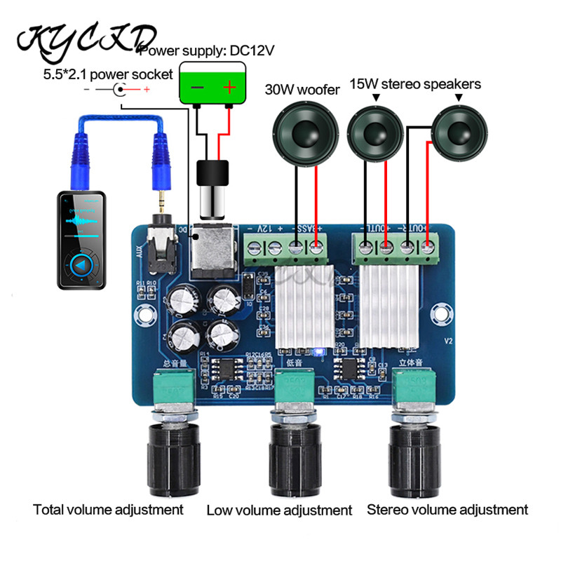 YDA138-E XH-A355 For Yamaha Amplifier Board 2.1 Channel 2*15W+30W HD Sound AMP Audio Tuning Board Bass Subwoofer For Car Speaker