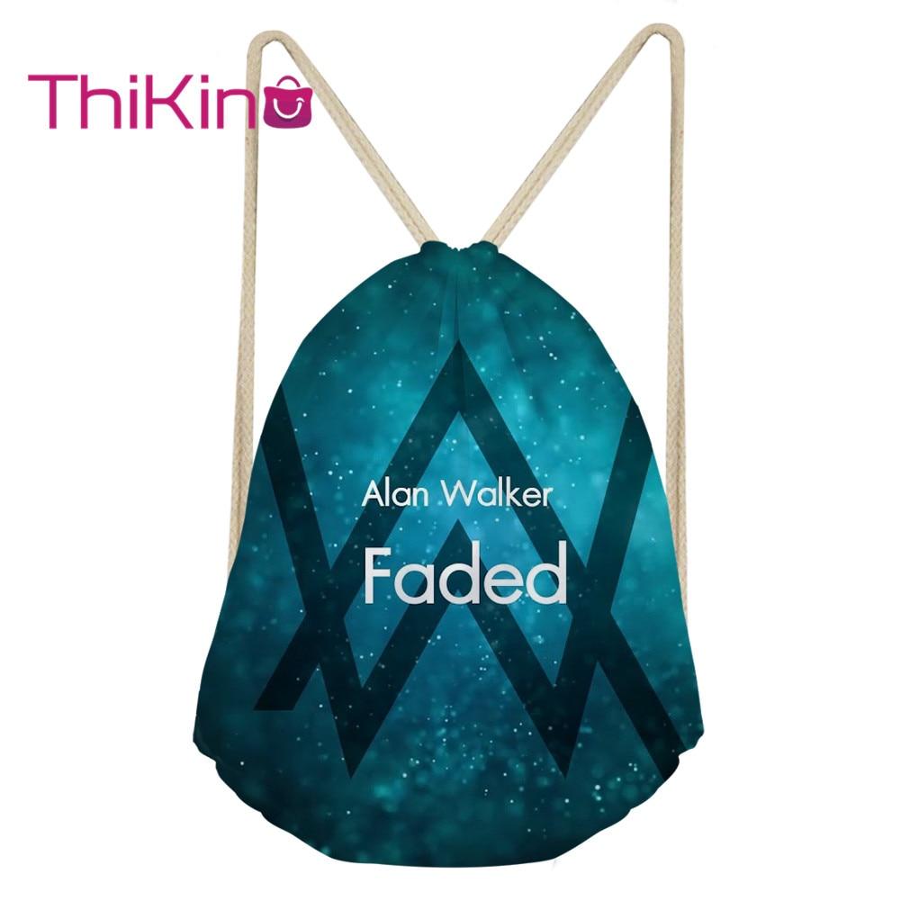 Thikin Alan Walker Casual Sack Drawstring Bag For Girl Travel Backpack Toddler Softback Lady Beach Mochila DrawString Bag