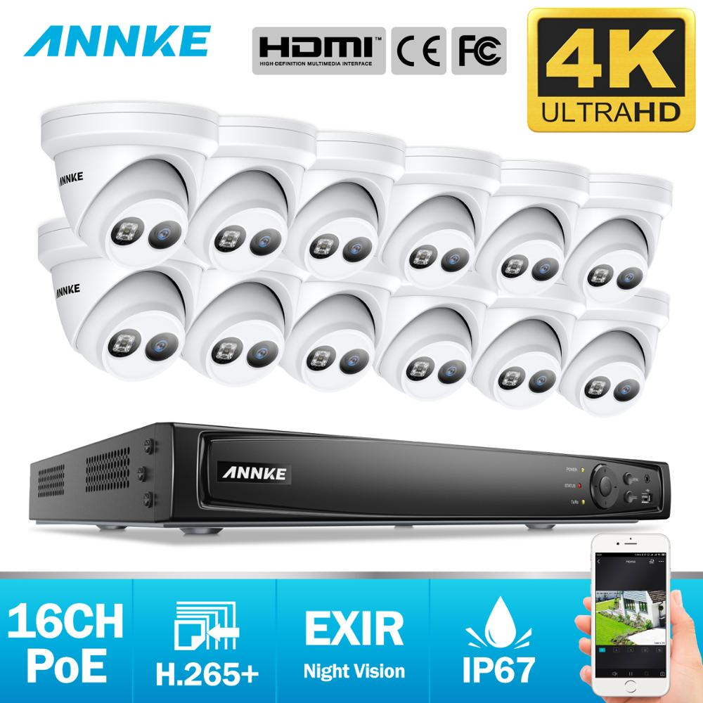 ANNKE 16CH 4K FHD POE Network Video Security System 8MP H.265+ NVR With 12X 8MP 30m EXIR Night Vision Weatherproof IP Camera Kit