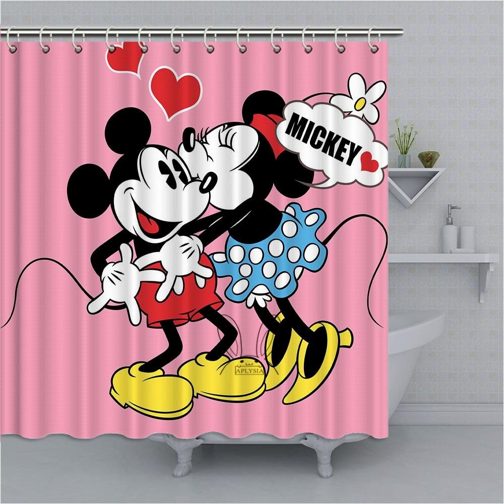 bath aplysia mickey mouse love bathroom shower curtains cartoon art eco friendly wate home furniture diy itkart org