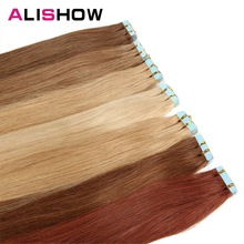 Human-Hair-Extensions On-Hair Remy Tape-In Adhensive Alishow Straight 20pcs European