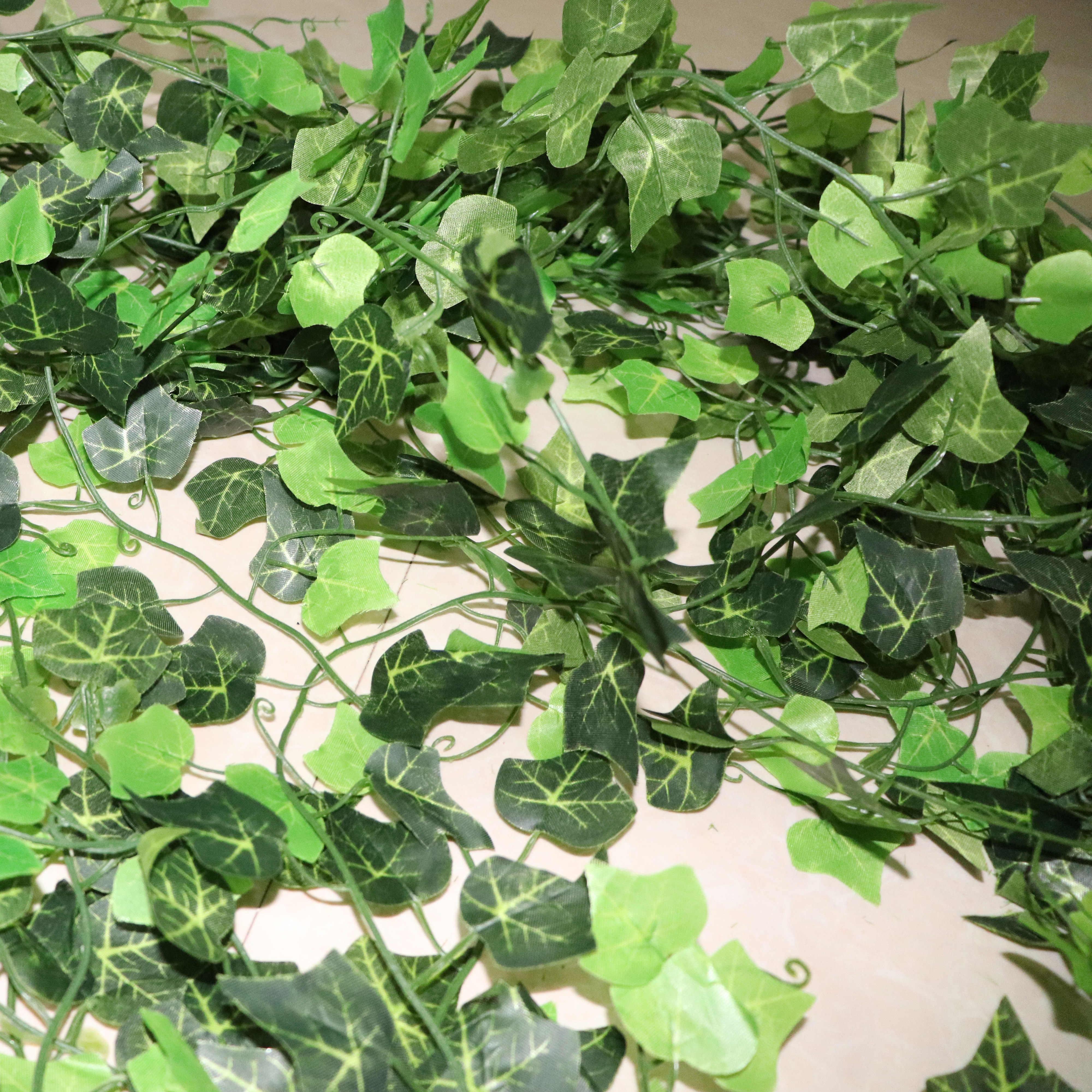 100 Pcs Daun 1 Buah 2.4M Dekorasi Rumah Buatan Ivy Daun Garland Tanaman Vine Fake Dedaunan Bunga Creeper Hijau ivy Karangan Bunga
