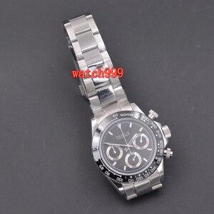 Image 5 - Parnis 39mm relógio casual luminoso masculino cronógrafo completo safira cristal mostrador preto pulseira de aço brilhante