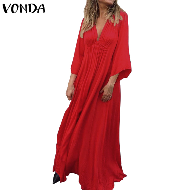 VONDA Summer Dress 2019 Sexy 3/4 Sleeve V Neck Solid Color Party Eveing Dresses Loose Bohemian Vestidos Plus Size Sundress S-5XL 5