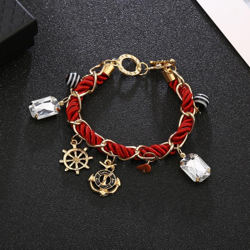 Anchor Bracelet women Rope chain charm Bracelet handmade wrap bracelet gold bracelets for women accesorios jewelry in Charm Bracelets from Jewelry Accessories