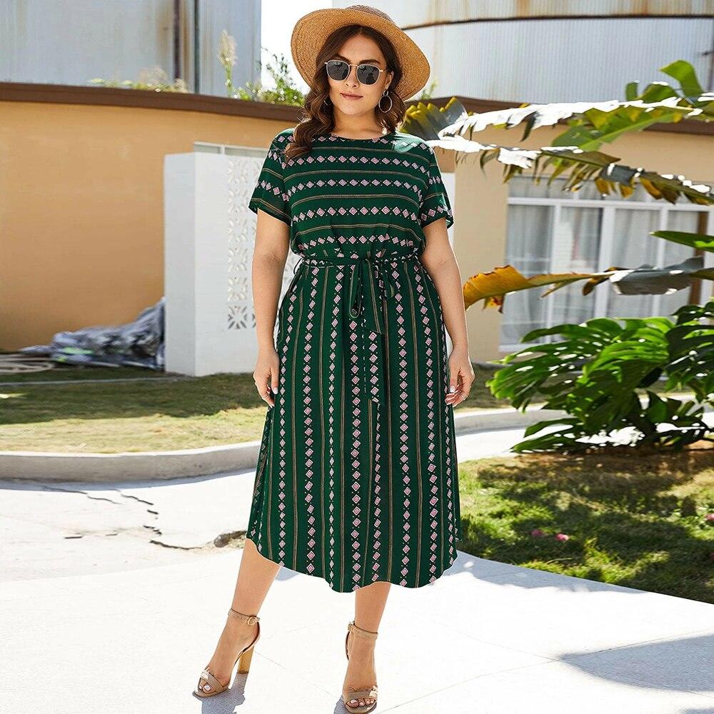 Женское Повседневное платье с круглым вырезом, коротким рукавом и геометрическим принтом, винтажное платье размера плюс, зеленое женское платье туника макси|Платья|   | АлиЭкспресс
