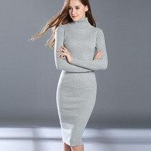 Женский осенне-зимний свитер, вязаные платья, тонкая эластичная Водолазка с длинным рукавом, сексуальное женское облегающее платье, платья Vestidos