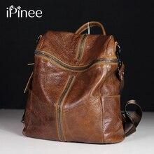 IPinee créateur de mode femmes en cuir véritable sac à dos sacs à bandoulière pour adolescents voyage peau de vache femme sac à dos