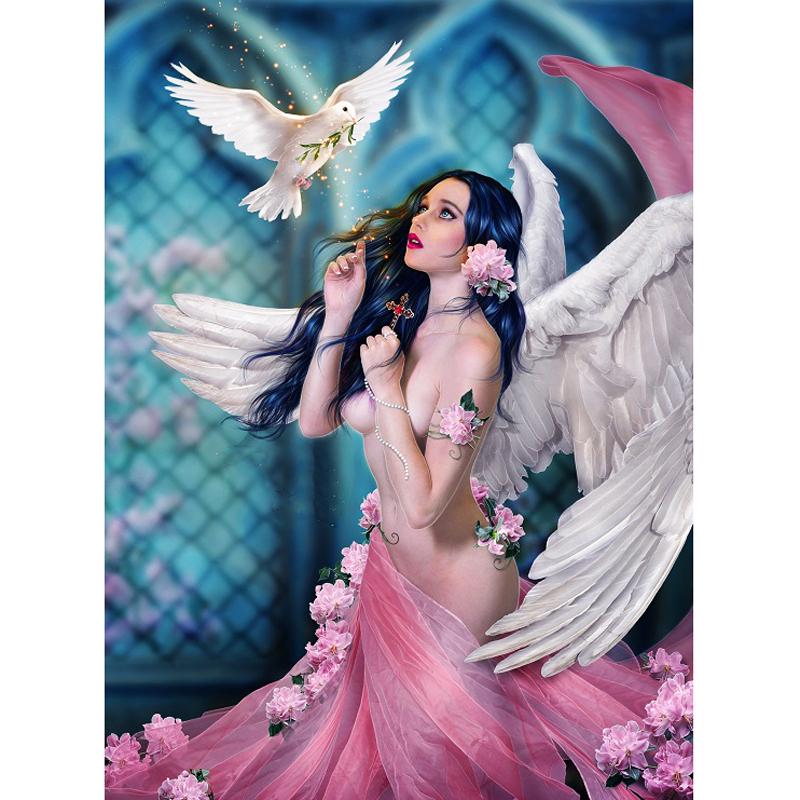 Full Square Round <font><b>Diamond</b></font> <font><b>Painting</b></font> <font><b>Sexy</b></font> Angel Girl And White Dove Mosaic <font><b>Diamond</b></font> Embroidery Rhinestones Wall Art Decor image