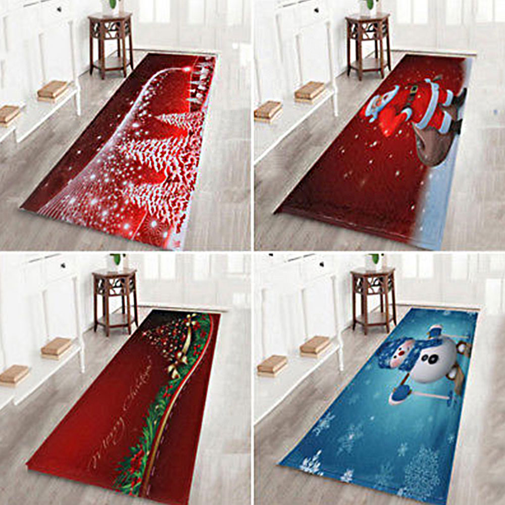 Floor Rug Pad Mat Carpet Home Christmas Festival Decor Soft Comfortable Xmas Supply Flannel Non-slip Bathroom Living Room Home